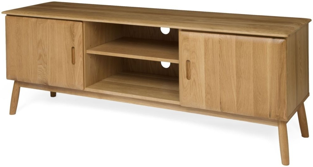 Oak Tv Cabinets With Doors In 2018 Maldon Scandinavian Style Oak 2 Door Tv Unit (View 7 of 20)