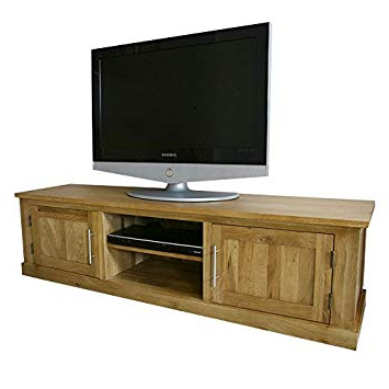 Oak Tv Cabinets With Doors Pertaining To Recent Wide Solid Oak Tv Cabinet Stand Unit With Doors (View 9 of 20)