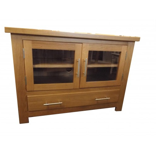 Oak Tv Cabinets With Doors Regarding Preferred Finewood Studios (Furniture) Ltd. – Oak Tv Unit With Glass Doors – P215 (Gallery 18 of 20)