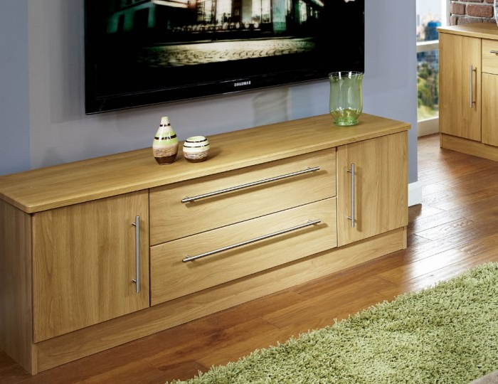 Oak Tv Cabinets With Doors Throughout Most Current Siero Oak 2 Door 2 Drawer Wide Tv Unit (View 10 of 20)