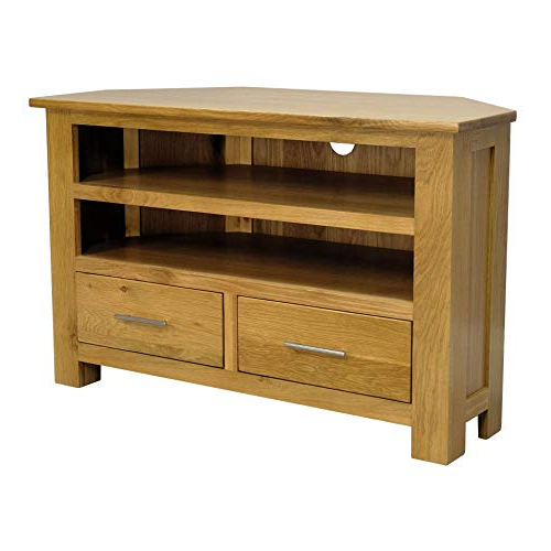 Oak Tv Stand: Amazon.co.uk With Most Current Corner Wooden Tv Stands (Gallery 8 of 20)