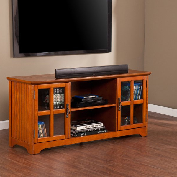 Oak Tv Stands For Flat Screens With 2018 Shop Copper Grove Taber Mission Oak Tv Stand – On Sale – Free (Gallery 7 of 20)