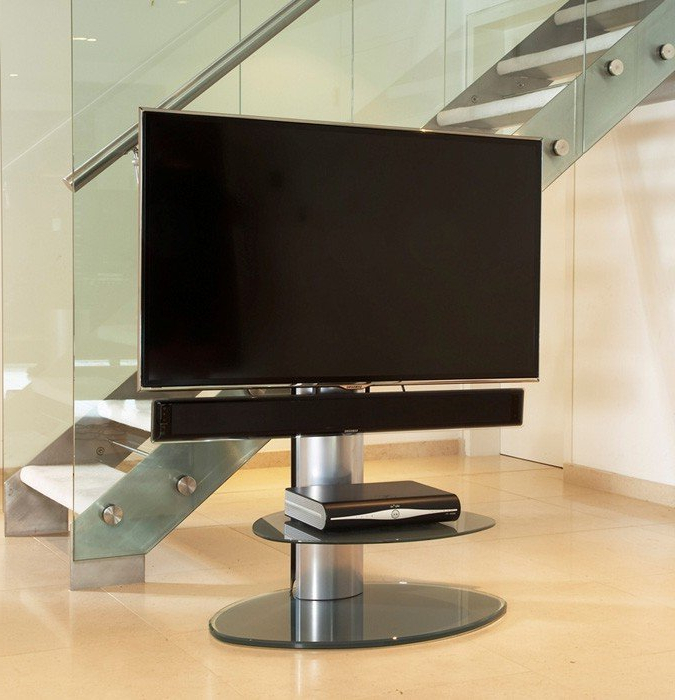 Off The Wall Motion Silver Cantilever Tv Stand With Free Soundbar Throughout Most Popular Off The Wall Tv Stands (View 15 of 20)