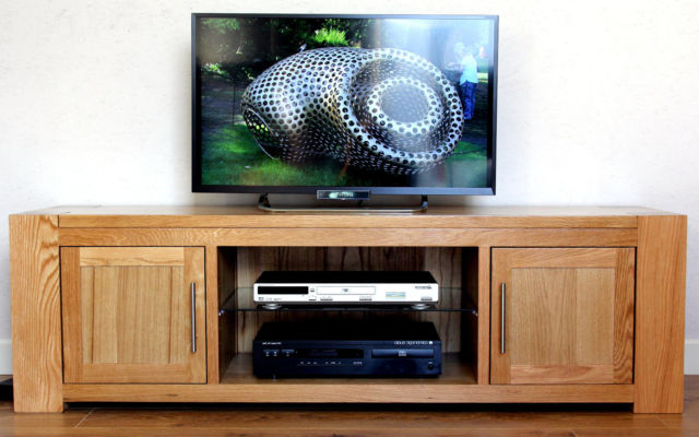 Olympic Solid Chunky Oak Widescreen Tv Hifi Stand Cabinet Kuba 4 Intended For Favorite Oak Widescreen Tv Units (Gallery 10 of 20)