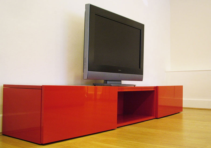 On+ Tv Stand In Red Gloss Lacquer (View 12 of 20)