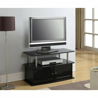 Open Shelf Tv Stand Black 37'' Wood Metal Media Center Storage Throughout Favorite Open Shelf Tv Stands (View 6 of 20)