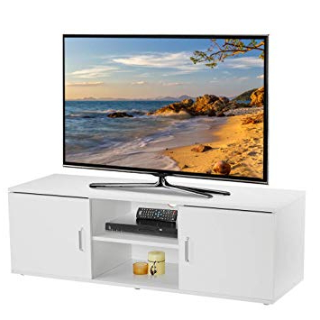 Open Shelf Tv Stands With Regard To Trendy Langria Tv Stand With 2 Doors, 2 Tier Open Shelf And: Amazon.co.uk (Gallery 14 of 20)