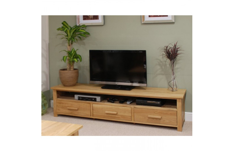 Opus Oak Furniture Wide Plasma Tv Unit (View 13 of 20)