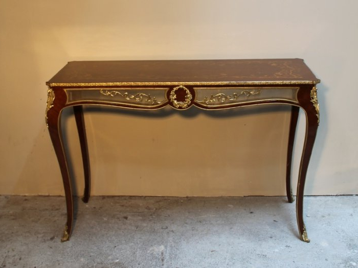 Orange Inlay Console Tables Pertaining To Fashionable French Style Marquetry Inlay Hall Table Long Brass Mounted Console (View 6 of 20)