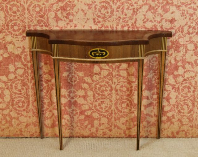 Orange Inlay Console Tables Pertaining To Most Up To Date Ferd Sobol Demi Lune Console Table W/ Inlay Artisan Dollhouse (View 20 of 20)