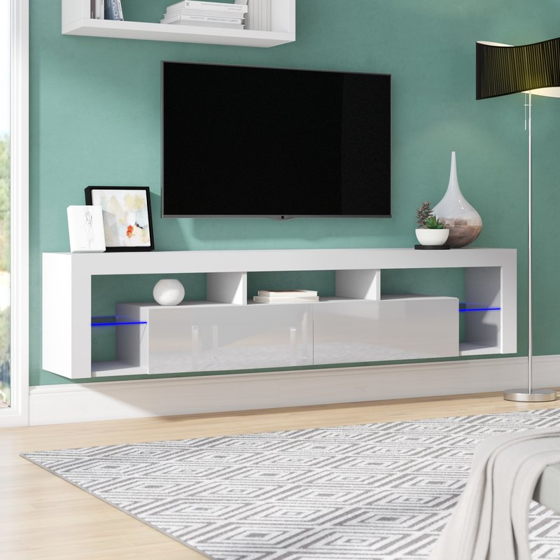 Orren Ellis Böttcher Wall Mounted Floating Tv Stand For Tvs Up To 88 With Famous Floating Tv Cabinets (View 5 of 20)