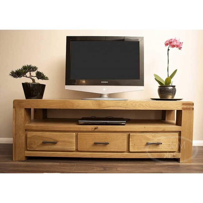 Oslo Rustic Oak Large Tv Stand Cabinet (View 7 of 20)
