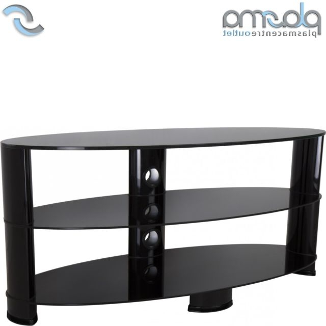 Oval Glass Tv Stands Intended For Fashionable Avf Ovl1200Bb Oval 3 Shelf Tv Stand Black From Ao (View 11 of 20)