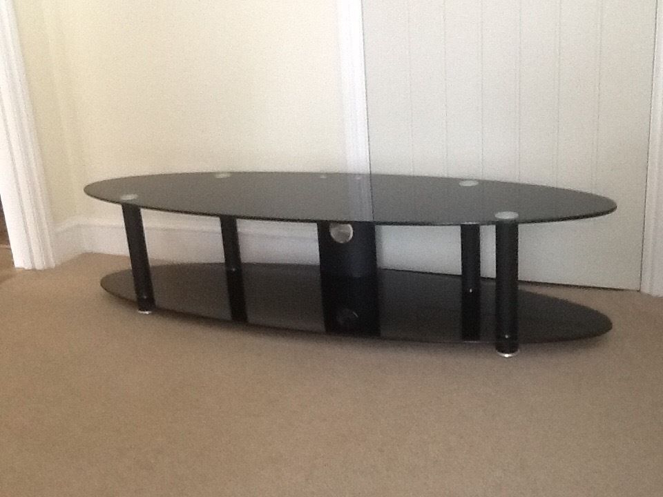 Oval Glass Tv Stands With Regard To Most Current Black Glass Tv Stand 150 X 45 X 35 Cm. Immaculate Condition (View 14 of 20)