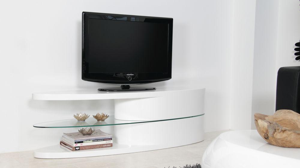 Oval White Hi Gloss Tv Unit (View 15 of 20)