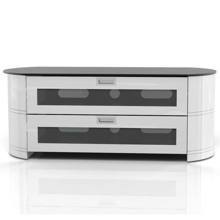 Oval White Tv Stands With Regard To Trendy White Corner Tv Stand With Oval Design And Two Storage Drawer (View 12 of 20)