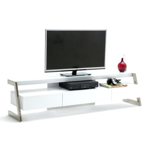 Oval White Tv Stands With Well Known White Glass Tv Stand In With High Gloss And 3 Drawers Oval – Naily (Gallery 18 of 20)