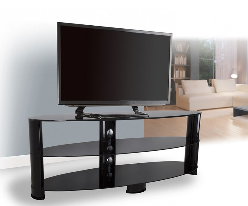 Ovl1400Bb: Reflections – Oval Glass Tv Stand – Tv Stands Intended For Well Liked Oval Glass Tv Stands (View 16 of 20)