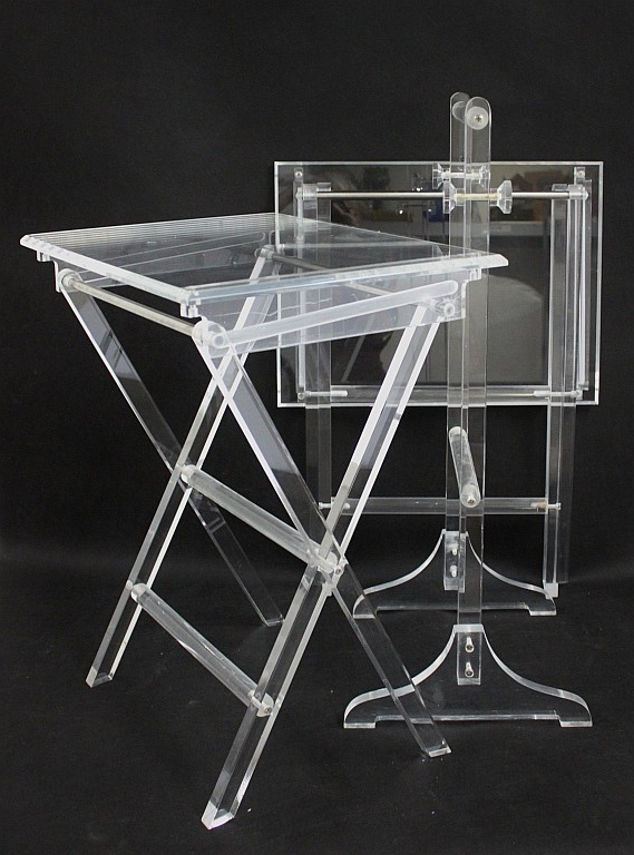 Pair Of Lucite Folding Tv Trays & Tray Stand In Newest Folding Tv Trays With Stand (View 13 of 20)