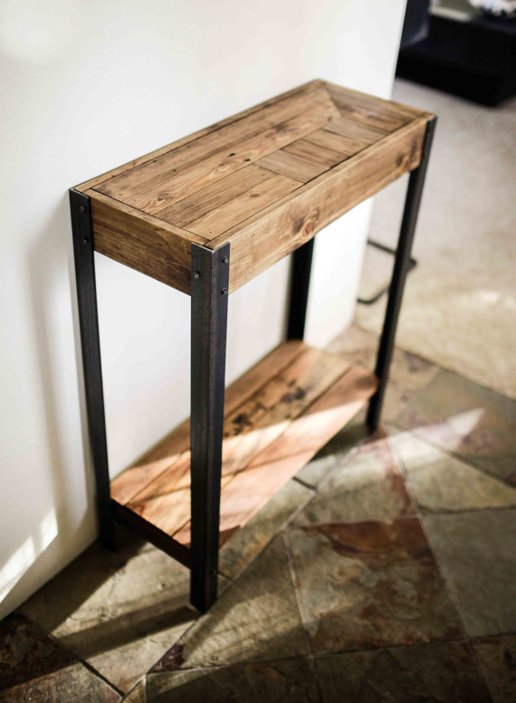 Pallet Wood Entry Hall Side Table A Great Entry Way Table Made Out With Regard To Well Known Mix Patina Metal Frame Console Tables (View 12 of 20)