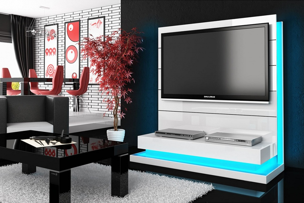 Panorama Tv Stands Inside Latest Free Standing Panorama Lux White Tv Stand (View 11 of 20)