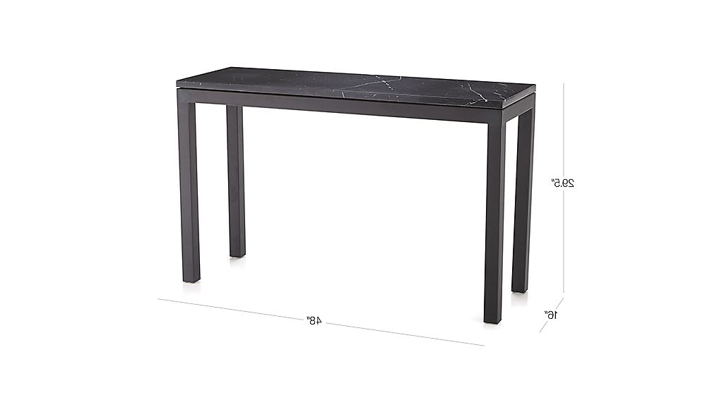 Parsons Black Marble Top & Elm Base 48X16 Console Tables Throughout Most Popular Parsons Black Marble Top/ Dark Steel Base 48X16 Console + Reviews (View 12 of 20)