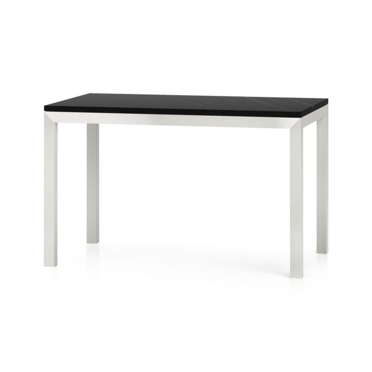 Parsons Black Marble Top/ Stainless Steel Base 48X28 Dining Throughout Fashionable Parsons Black Marble Top & Stainless Steel Base 48X16 Console Tables (View 13 of 20)