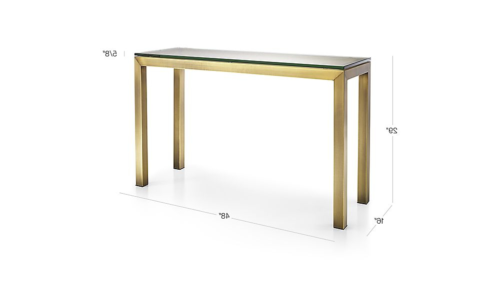 Parsons Clear Glass Top/ Brass Base 48x16 Console With Regard To Current Parsons Clear Glass Top & Dark Steel Base 48x16 Console Tables (View 5 of 20)