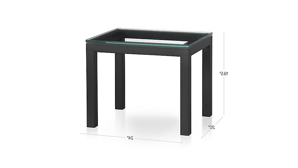 Parsons Clear Glass Top/ Dark Steel Base 20x24 End Table In Fashionable Parsons Clear Glass Top & Dark Steel Base 48x16 Console Tables (View 7 of 20)