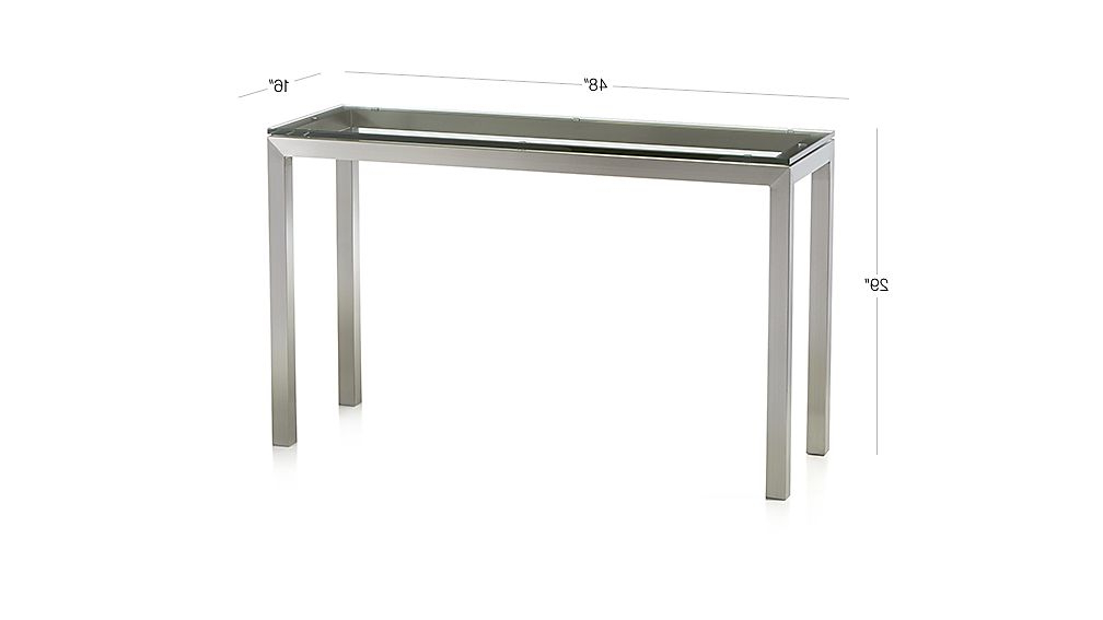 Parsons Clear Glass Top & Dark Steel Base 48x16 Console Tables Throughout Most Popular Parsons Clear Glass Top/ Stainless Steel Base 48x16 Console (View 4 of 20)