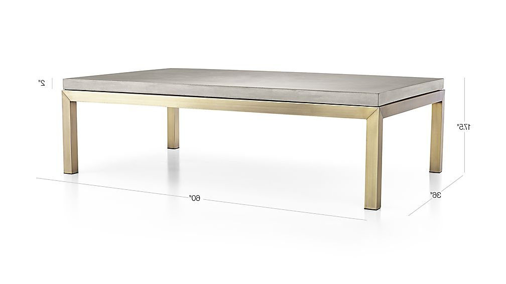 Parsons Concrete Top/ Brass Base 60x36 Large Rectangular Coffee Inside Most Current Parsons Grey Marble Top & Brass Base 48x16 Console Tables (View 16 of 20)