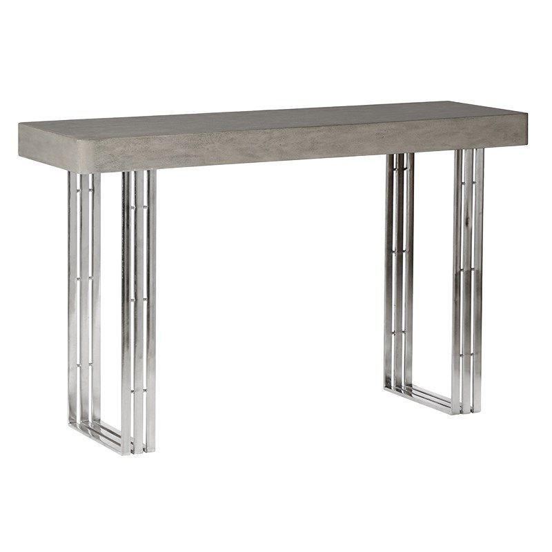 Parsons Concrete Top & Dark Steel Base 48x16 Console Tables In Current Concrete Top Console Table (View 4 of 20)