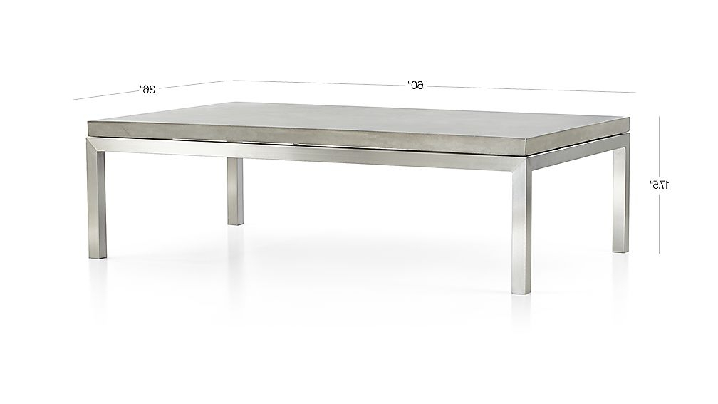Parsons Concrete Top/ Stainless Steel Base 60x36 Large Rectangular Throughout Recent Parsons Grey Marble Top & Brass Base 48x16 Console Tables (View 20 of 20)