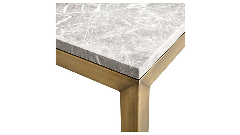 Parsons Grey Marble Top/ Brass Base 20x24 End Table + Reviews With Best And Newest Parsons Grey Marble Top & Brass Base 48x16 Console Tables (View 3 of 20)