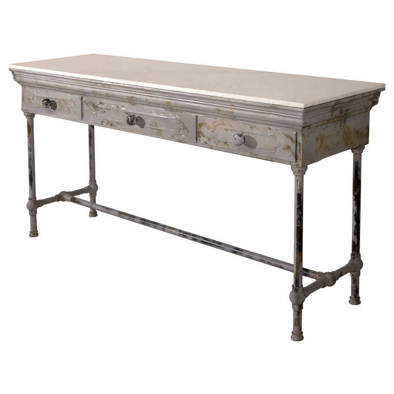 Parsons Grey Marble Top & Dark Steel Base 48x16 Console Tables Regarding Current Interior (View 15 of 20)
