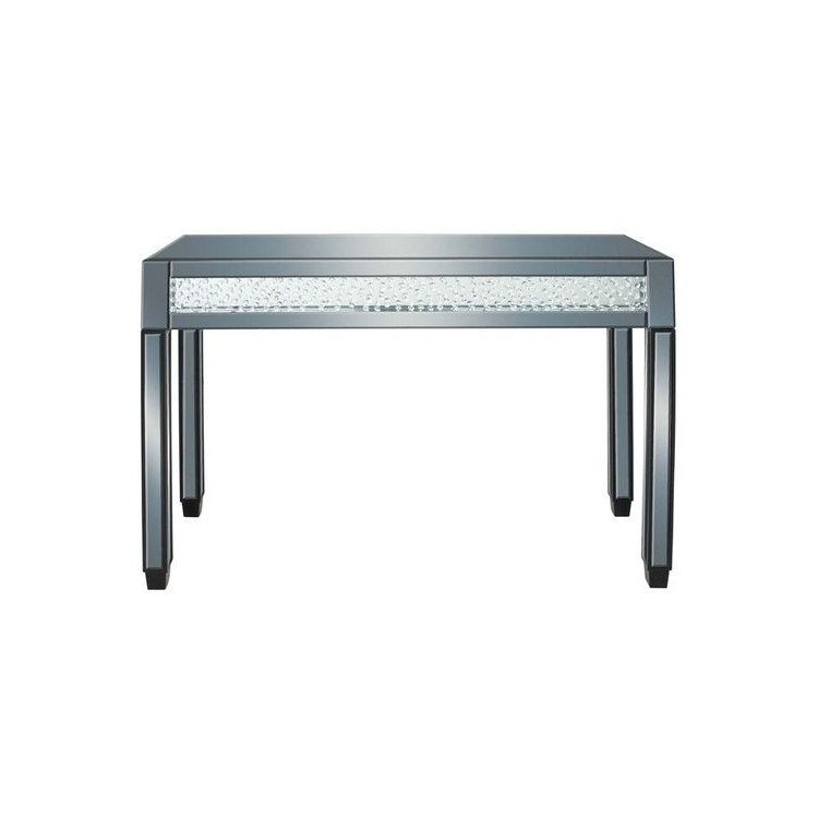Parsons Grey Marble Top & Dark Steel Base 48x16 Console Tables With Regard To Popular Litton Lane Clear Reflective Glass And Mirror Console Table (View 13 of 20)