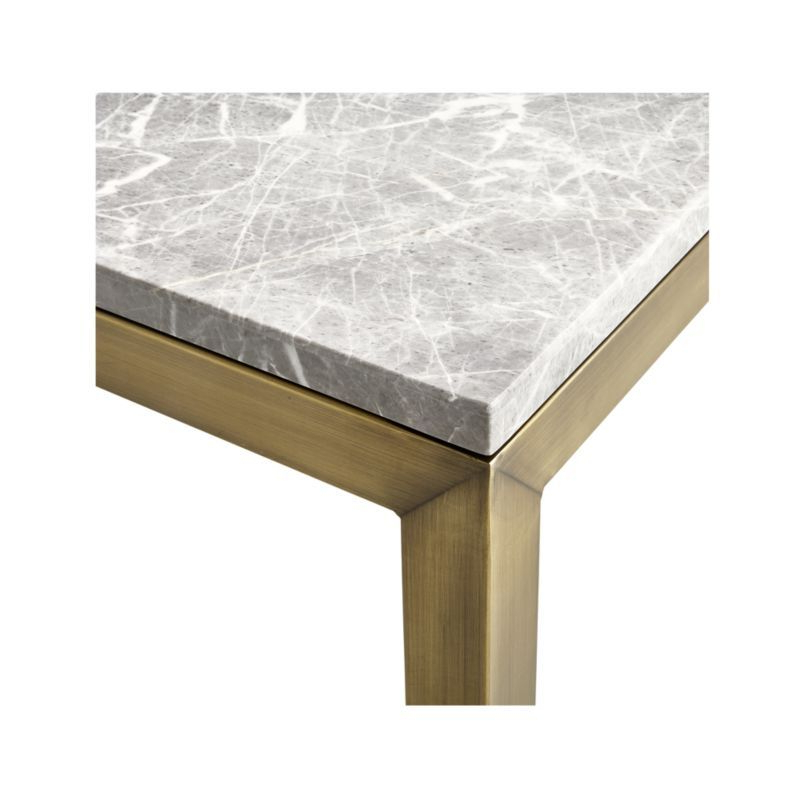 Parsons Grey Marble Top & Elm Base 48x16 Console Tables Regarding Fashionable Parsons Grey Marble Top/ Brass Base 60x36 Large Rectangular Coffee (View 6 of 20)