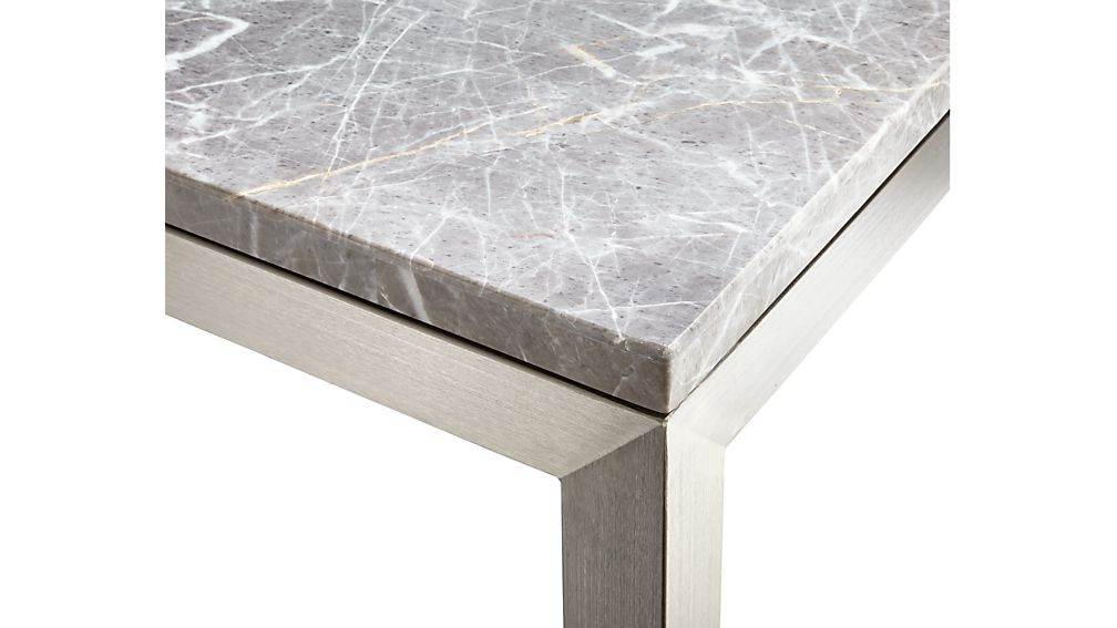 Parsons Grey Marble Top & Elm Base 48x16 Console Tables With Regard To Most Current Parsons Grey Marble Top/ Stainless Steel Base 48x16 Console + (View 2 of 20)