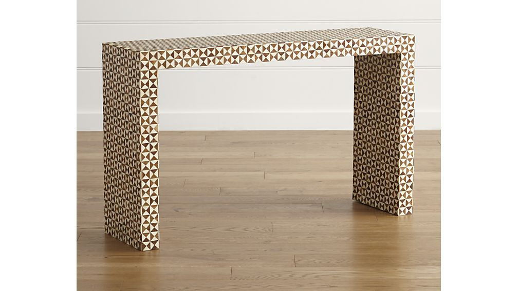 Parsons Grey Solid Surface Top & Brass Base 48x16 Console Tables For Trendy Intarsia Console Table (View 5 of 20)