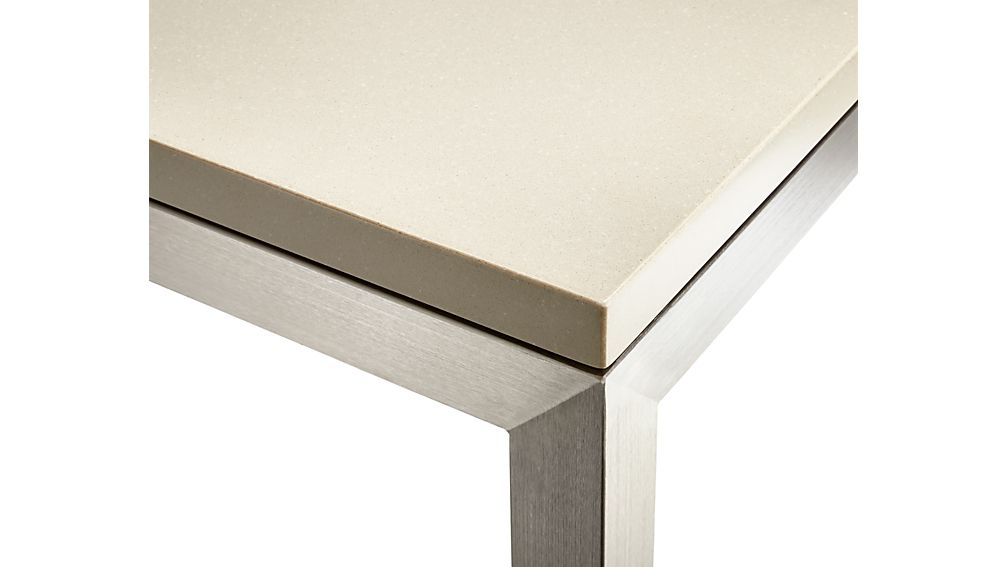 Parsons Grey Solid Surface Top/ Stainless Steel Base 36x36 Square For Most Current Parsons Grey Solid Surface Top & Elm Base 48x16 Console Tables (View 6 of 20)