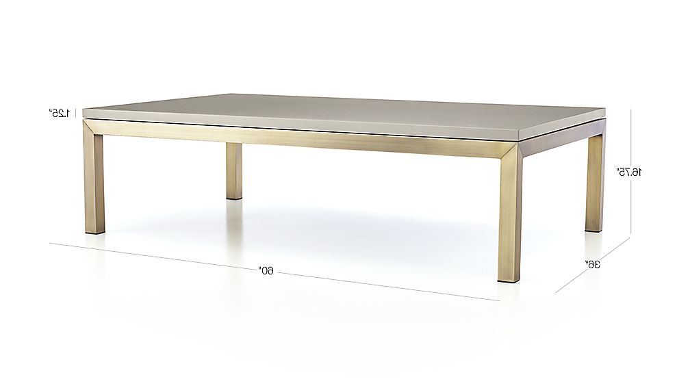 Parsons Grey Solid Surface Top & Stainless Steel Base 48X16 Console Tables With Regard To Newest Parsons Grey Solid Surface Top/ Brass Base 60X36 Large Rectangular (View 13 of 20)