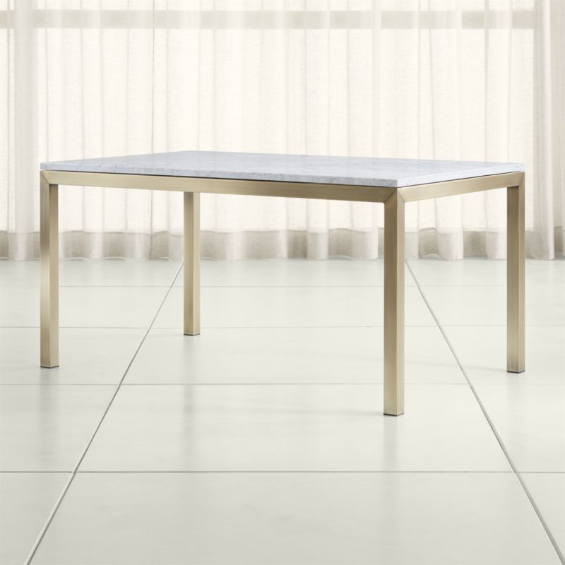 Parsons Travertine Top & Brass Base 48x16 Console Tables In Latest Shop Parsons White Marble Top/ Brass Base Dining Tables (View 17 of 20)