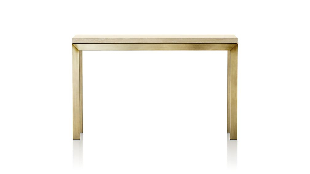 Parsons Travertine Top/ Brass Base 48x16 Console Throughout Trendy Parsons Travertine Top & Brass Base 48x16 Console Tables (View 2 of 20)