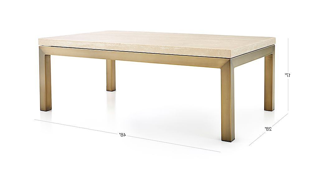 Parsons Travertine Top/ Brass Base 48X28 Small Rectangular Coffee Throughout Well Known Parsons Travertine Top & Stainless Steel Base 48X16 Console Tables (View 15 of 20)