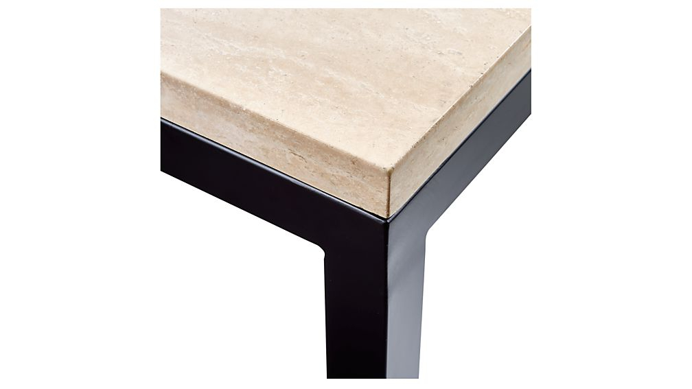 Parsons Travertine Top/ Dark Steel Base 48X16 Console + Reviews Intended For Well Known Parsons Concrete Top & Brass Base 48X16 Console Tables (View 15 of 20)