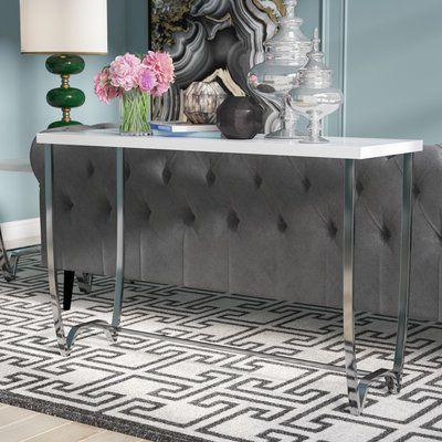 Parsons Travertine Top & Dark Steel Base 48X16 Console Tables Within Widely Used Aguayo Contemporary Console Table (View 10 of 20)