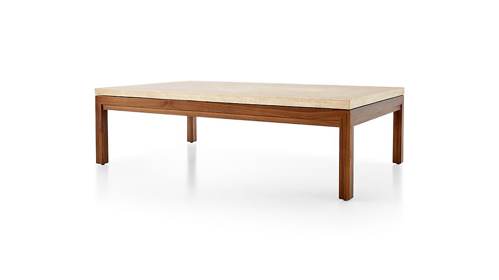 Parsons Travertine Top/ Elm Base 60X36 Large Rectangular Coffee Intended For Current Parsons Travertine Top & Dark Steel Base 48X16 Console Tables (View 12 of 20)
