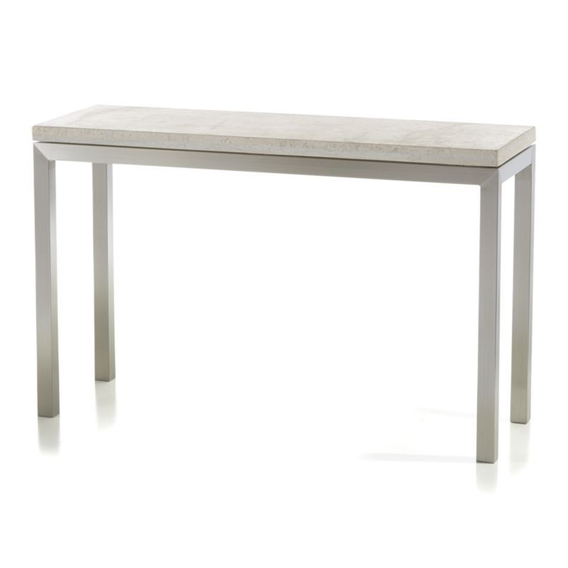 Parsons Travertine Top/ Stainless Steel Base 48x16 Console Intended For Widely Used Parsons White Marble Top & Stainless Steel Base 48x16 Console Tables (View 4 of 20)