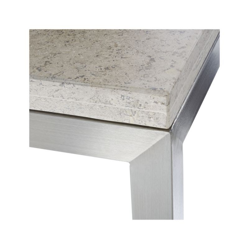 Parsons Travertine Top/ Stainless Steel Base 48x28 Small Rectangular Within Famous Parsons Travertine Top & Brass Base 48x16 Console Tables (View 15 of 20)