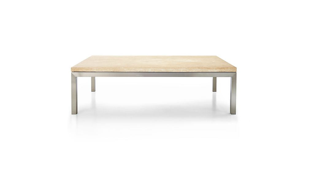 Parsons Travertine Top/ Stainless Steel Base 60X36 Large Rectangular For Famous Parsons Travertine Top & Dark Steel Base 48X16 Console Tables (View 13 of 20)